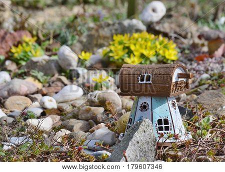 garden decorations flower bed South Bohemia Czech Republic