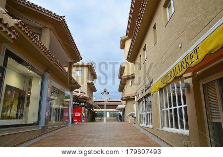 Playa de Las Americas,Tenerife,Canary Islands,Spain - January 29, 2015:Street in shopping area Playa de las Americas.