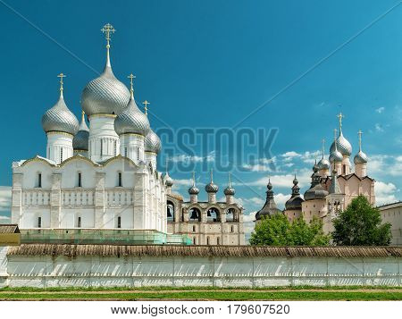 Old Orthodox churches in the Rostov Kremlin. Rostov the Great Golden Ring of Russia and UNESCO site.