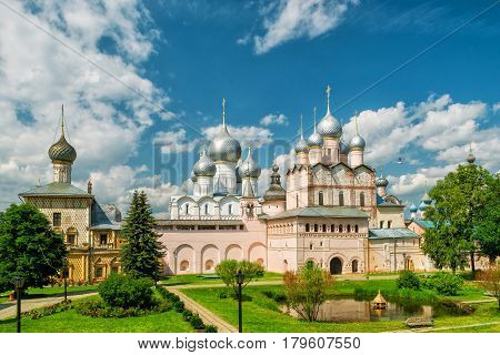 The Church of Resurrection and other churches in Rostov Kremlin. Ancient town of Rostov The Great is a part of the Golden Ring of Russia and a site of UNESCO.