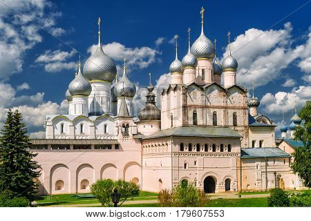 Assumption Cathedral and church of the Resurrection in Rostov Kremlin. The ancient town of Rostov The Great is a tourist center of the Golden Ring of Russia.