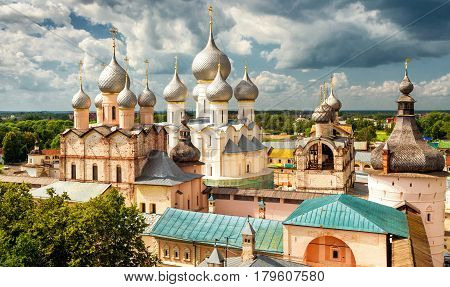 Assumption Cathedral and church of the Resurrection in Rostov Kremlin, Rostov the Great, Russia. Included in World Heritage list of UNESCO.