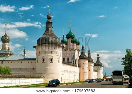 The Rostov Kremlin, Russia. The ancient town of Rostov the Great is a part of the Golden Ring of Russia and included in World Heritage list of UNESCO.