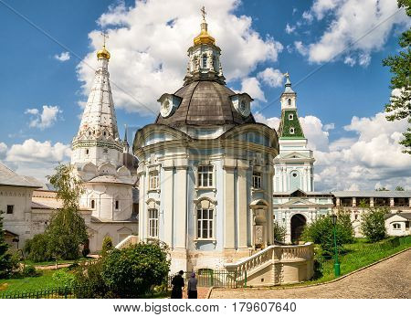 Inside the Trinity Sergius Lavra in Sergiyev Posad near Moscow, Russia. The Trinity Lavra is one of the greatest of Russian monasteries.