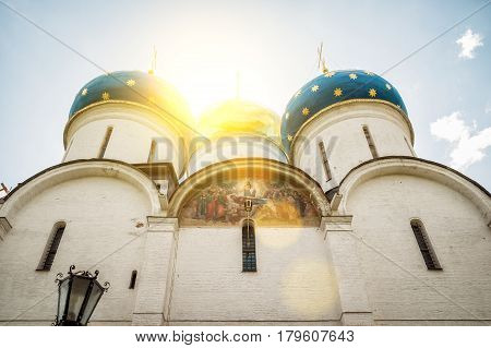 Assumption Cathedral in Trinity Lavra of St Sergius in Sergiyev Posad near Moscow, Russia. The Trinity Lavra is one of the greatest of Russian monasteries.
