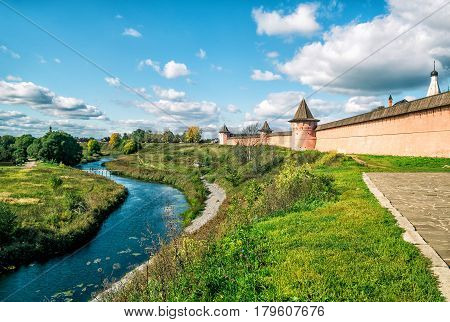 Panorama of ancient town of Suzdal, Russia. St. Euthymius Monastery. Suzdal is site of the Golden Ring of Russia.