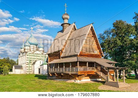Old wooden church in the Suzdal Kremlin. Suzdal, Golden Ring of Russia.
