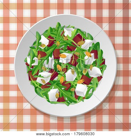 Vegetable salad with fresh tasty arugula rucola rocket green leaves red beet beetroot feta cheese pumpkin seeds on plate red tablecloth checkered background. Top view color vector illustration.