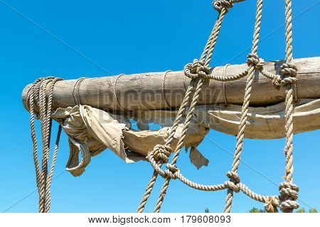 Yard and tackles of the abandoned sailing ship
