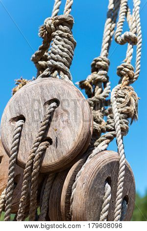 A rigging of the old sailing ship