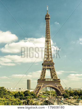 Paris skyline with Eiffel tower, France. Vintage photo.