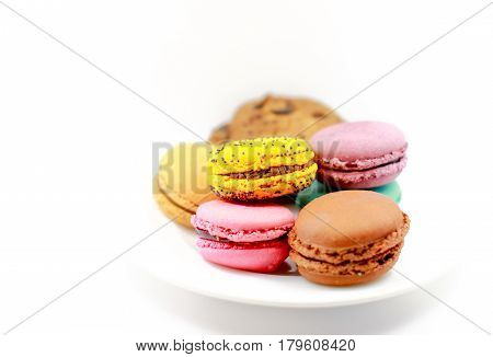 Cake macaron or macaroon on white background sweet and colorful dessert