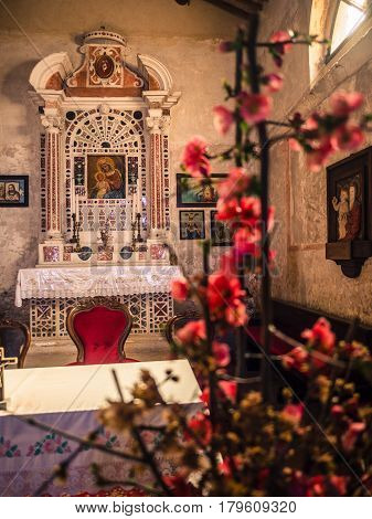 San Bonifacio Italy - March 11 2017: Altar of the votive church of Saint Mary of the Alzana famous for the many unexplained healings.