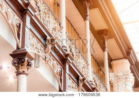 Vintage Carved Handrails On The Balcony And Stairs