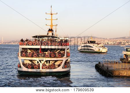 ISTANBUL TURKEY - MARCH 01 2017: Sehir Hatlari ferry in Eminonu Port. Sehir Hatlari was established in 1844 and now carry 150000 passengers a day.