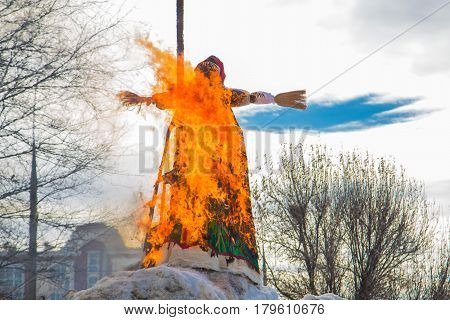 Shrovetide burning stuffed winters the Russian holiday