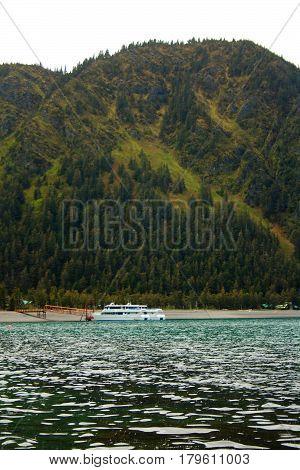 Small Cruise Ship Docked Near Seward Alaska