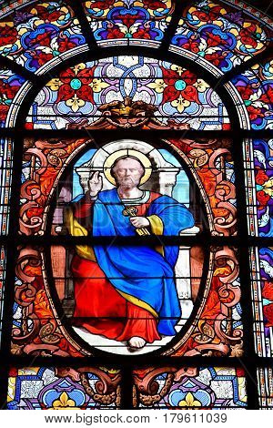 Versailles France - august 13 2016 : saint peter window in the Saint Louis Cathedral