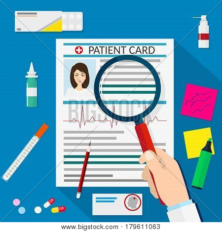 Clipboard with patient card and pen. pills capsules syringe tablets. Healthcare hospital and medical diagnostics concept.