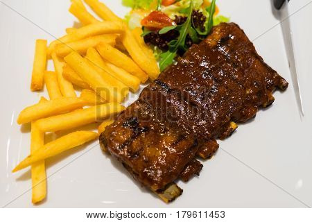 Roasted Sliced Barbecue Pork Ribs, Focus On Sliced Meat