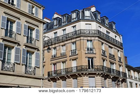 Versailles France - august 13 2016 : the picturesque Notre Dame district in the city center