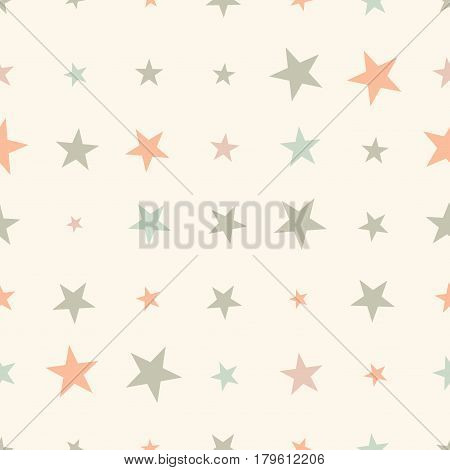 Colorful seamless pattern with halftone stars on beige background. Star in a rows. Vector illustration.