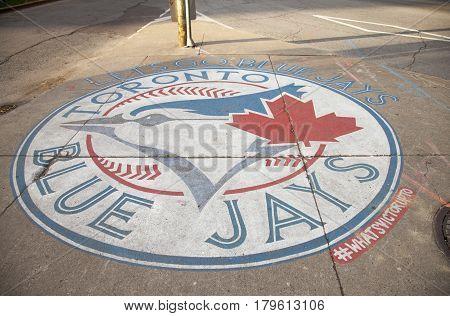 Toronto, Canada - NOVEMBER 01,2016: Sign of Toronto Blue Jays logo on the city
