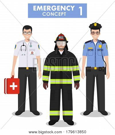 Detailed illustration of fireman emergency doctor police officer in flat style on white background.