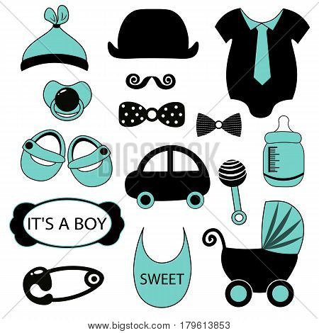 Little man set. Blue, gray, cream colors. Illustration of baby clothes, mustaches, bow ties,