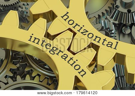 horizontal integration concept on the gearwheels 3D rendering