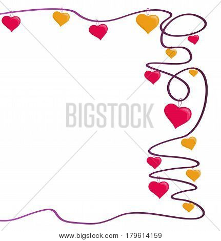 Ornate frame with pink and gold hearts. Vector illustration