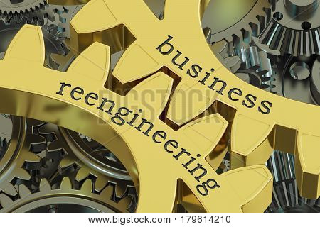 Business Reengineering concept on the gears 3D rendering