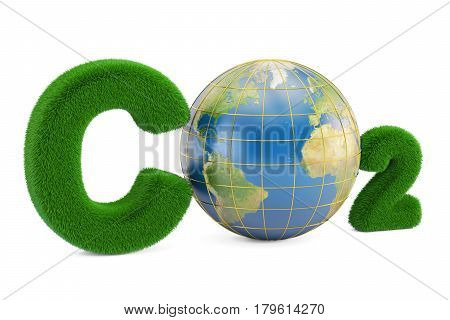 CO2 from grass inscription with globe 3D rendering isolated on white background