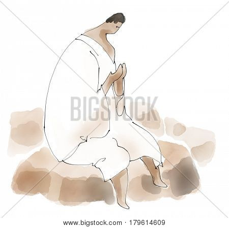 Islam Pilgrim Hajj activity in Mecca. In watercolor illustration