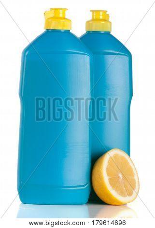 bottle of dishwashing detergent with lemon isolated on white background.