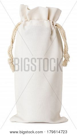 Front view of single fabric cotton small bag isolated on white background.
