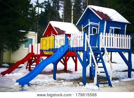 Playground for children in nice colors, winter