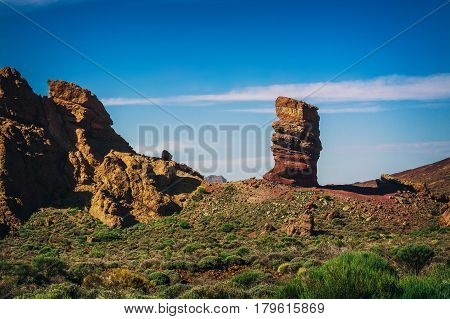 Famous Finger Of God rock near volcano Teide in Tenerife island - Canary, Spain