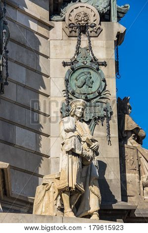 The Columbus Monument is a 60 m tall monument to Christopher Columbus at the lower end of La Rambla Barcelona Catalonia Spain