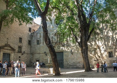 BARCELONA SPAIN - OCTOBER 23 2015: Church in gothic quarter of Barcelona the capital city of the autonomous community of Catalonia in the Kingdom of Spain