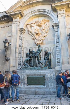 BARCELONA SPAIN - OCTOBER 23 2015: Monument in gothic quarter of Barcelona the capital city of the autonomous community of Catalonia in the Kingdom of Spain