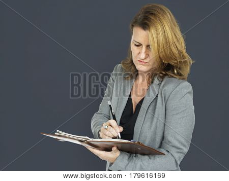Caucasian Business Woman Notebook