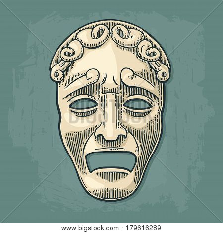 Tragedy theater mask . Vector engraving vintage black and beige illustration. Isolated on turquoise background.