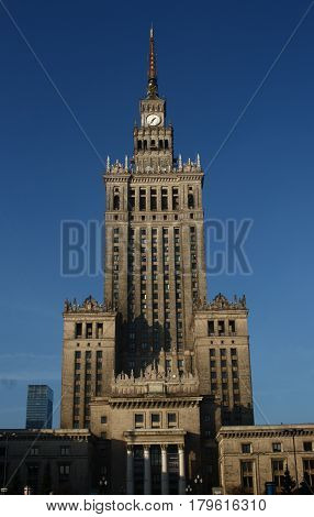 Palace of Culture and Science Palac Kultury i Nauki over clear blue sky Warsaw city Poland