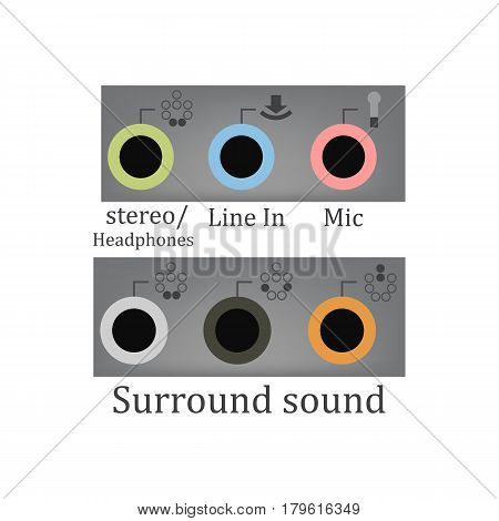 All sound input output on the white background. Vector illustration