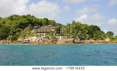 Elegant house on the beach. Forests and dense vegetation