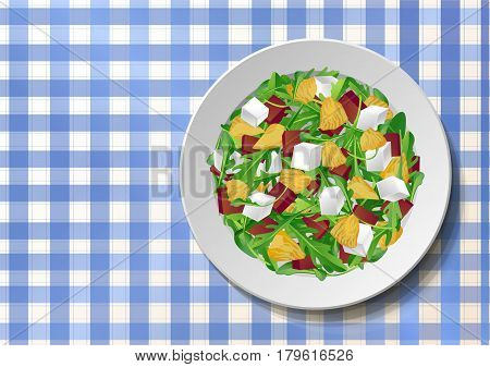 Vegetable salad with fresh tasty arugula rucola rocket green leaves red beet beetroot feta cheese orange citrus on plate blue tablecloth checkered background. Top view color vector illustration.