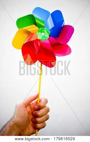 Colorful Red Blue Green Yellow Purple Pinwheel In Dad's Hand On White Background