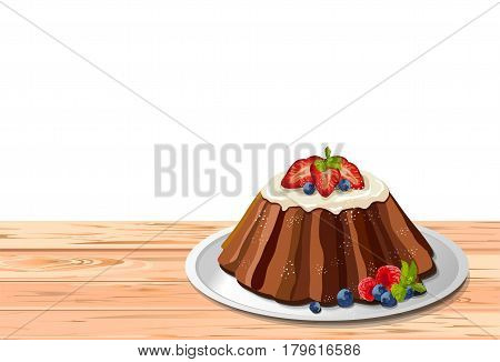 Traditional easter holiday fruit cake with frosting and fresh berries:strawberry blueberry raspberry mint leaf. Vector illustration side view of fresh homemade baked product white plate wooden table