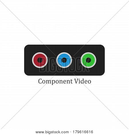 Component video illustration on the white background. Vector illustration